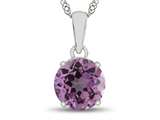 10kt White Gold 7mm Round Created Pink Sapphire Pendant Necklace style: P1078203