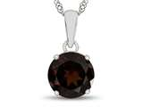 10kt White Gold 7mm Round Garnet Pendant Necklace style: P1078206