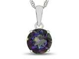 10kt White Gold 7mm Round Mystic Topaz Pendant Necklace style: P1078207