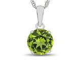 10k White Gold 7mm Round Peridot Pendant Necklace style: P1078208