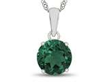 10kt White Gold 7mm Round Simulated Emerald Pendant Necklace style: P1078211