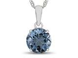 10kt White Gold 7mm Round Swiss Blue Topaz Pendant Necklace style: P1078212