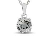 10kt White Gold 7mm Round White Topaz Pendant Necklace style: P1078213