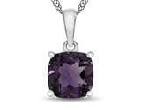 10kt White Gold 7mm Cushion Amethyst Pendant Necklace style: P1078300