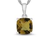 10kt White Gold 7mm Cushion Citrine Pendant Necklace style: P1078301