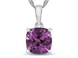10kt White Gold 7mm Cushion Created Pink Sapphire Pendant Necklace style: P1078303