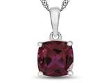 10kt White Gold 7mm Cushion Created Ruby Pendant Necklace style: P1078304
