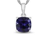 10kt White Gold 7mm Cushion Created Sapphire Pendant Necklace style: P1078305