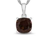 10kt White Gold 7mm Cushion Garnet Pendant Necklace style: P1078306