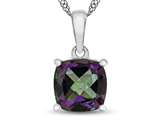 10kt White Gold 7mm Cushion Mystic Topaz Pendant Necklace style: P1078307