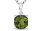 10kt White Gold 7mm Cushion Peridot Pendant Necklace style: P1078308