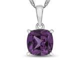 10kt White Gold 7mm Cushion Simulated Alexandrite Pendant Necklace style: P1078309