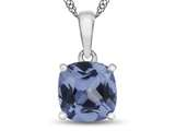 10kt White Gold 7mm Cushion Simulated Aquamarine Pendant Necklace style: P1078310