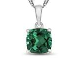 10kt White Gold 7mm Cushion Simulated Emerald Pendant Necklace style: P1078311
