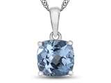 10kt White Gold 7mm Cushion Swiss Blue Topaz Pendant Necklace style: P1078312