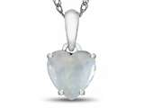 Finejewelers 10k White Gold 7mm Heart Shaped Created Opal Pendant Necklace style: P1078602