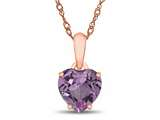 Finejewelers 10k Rose Gold 7mm Heart Shaped Created Pink Sapphire Pendant Necklace style: P1078603P