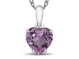 Finejewelers 10k White Gold 7mm Heart Shaped Created Pink Sapphire Pendant Necklace style: P1078603