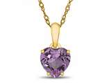 Finejewelers 10k Yellow Gold 7mm Heart Shaped Created Pink Sapphire Pendant Necklace style: P1078603Y