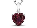 Finejewelers 10k White Gold 7mm Heart Shaped Created Ruby Pendant Necklace style: P1078604