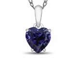 10k White Gold 7mm Heart Shaped Created Sapphire Pendant Necklace style: P1078605