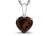 10kt White Gold 7mm Heart Shaped Garnet Pendant Necklace style: P1078606