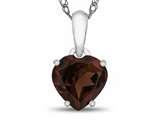 10k White Gold 7mm Heart Shaped Garnet Pendant Necklace style: P1078606