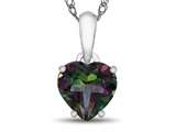 10k White Gold 7mm Heart Shaped Mystic Topaz Pendant Necklace style: P1078607