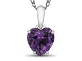 Finejewelers 10k White Gold 7mm Heart Shaped Simulated Alexandrite Pendant Necklace style: P1078609