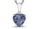 10kt White Gold 7mm Heart Shaped Simulated Aquamarine Pendant Necklace style: P1078610