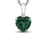 10kt White Gold 7mm Heart Shaped Simulated Emerald Pendant Necklace style: P1078611