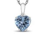 Finejewelers 10k White Gold 7mm Heart Shaped Swiss Blue Topaz Pendant Necklace style: P1078612
