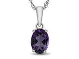 Finejewelers 10k White Gold 7x5mm Oval Amethyst Pendant Necklace style: P1078700