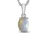 10kt White Gold 7x5mm Oval Created Opal Pendant Necklace style: P1078702