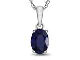 10kt White Gold 7x5mm Oval Created Sapphire Pendant Necklace style: P1078705