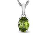 10k White Gold 7x5mm Oval Peridot Pendant Necklace style: P1078708