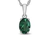 10kt White Gold 7x5mm Oval Simulated Emerald Pendant Necklace style: P1078711
