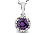10kt White Gold 6mm Round Amethyst with White Topaz accent stones Halo Pendant Necklace style: P1079000