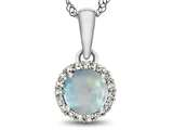 10kt White Gold 6mm Round Created Opal with White Topaz accent stones Halo Pendant Necklace style: P1079002