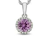 10kt White Gold 6mm Round Created Pink Sapphire with White Topaz accent stones Halo Pendant Necklace style: P1079003