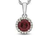 10kt White Gold 6mm Round Created Ruby with White Topaz accent stones Halo Pendant Necklace style: P1079004