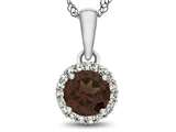 10kt White Gold 6mm Round Garnet with White Topaz accent stones Halo Pendant Necklace style: P1079006