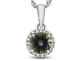 10kt White Gold 6mm Round Mystic Topaz with White Topaz accent stones Halo Pendant Necklace style: P1079007