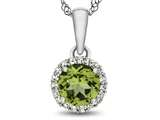 10kt White Gold 6mm Round Peridot with White Topaz accent stones Halo Pendant Necklace style: P1079008