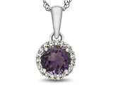 10kt White Gold 6mm Round Simulated Alexandrite with White Topaz accent stones Halo Pendant Necklace style: P1079009