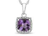 10kt White Gold Cushion Amethyst with White Topaz accent stones Halo Pendant Necklace style: P10791A10KW