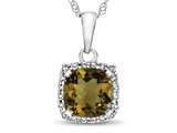 10kt White Gold Cushion Citrine with White Topaz accent stones Halo Pendant Necklace style: P10791C10KW