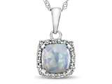10k White Gold 6mm Cushion Created Opal with White Topaz accent stones Halo Pendant Necklace style: P10791CRO10KW