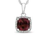 10k White Gold 6mm Cushion Created Ruby with White Topaz accent stones Halo Pendant Necklace style: P10791CRR10KW