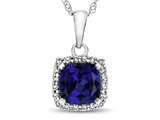 10kt White Gold Cushion Created Sapphire with White Topaz accent stones Halo Pendant Necklace style: P10791CRS10KW